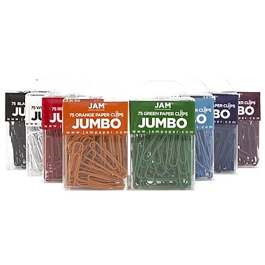 JAM Paper® Colored Jumbo Paper Clips, Large, Assorted Paperclips, 10 packs of 75 clips, 750/set (221812621)
