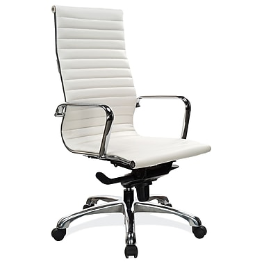 Beautiful OfficeSource Nova Series Leather Executive Office Chair, Fixed Arms, White  (10811KTWHT)