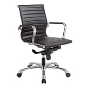 OfficeSource Nova Series Leather Executive Office Chair, Fixed Arms, White (10821KTBLK)