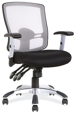 OfficeSource Artesa Mesh Managers Office Chair, Adjustable Arms, Black (11503BLK)