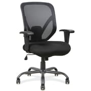 OfficeSource Becker Fabric Executive Office Chair, Adjustable Arms, Black (11701BLK)