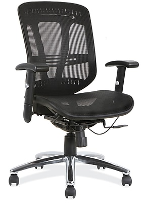 OfficeSource Engage Fabric Managers Office Chair, Adjustable Arms, Black (18921BLK) 1929112