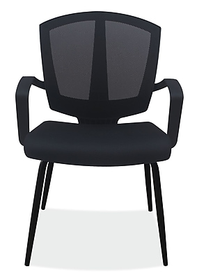 OfficeSource Sprint Series Fabric Conference Office Chair, Fixed Arms, Black (204BLK)