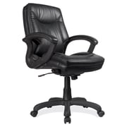 OfficeSource Whistler Series Leather Executive Office Chair, Fixed Arms, Black (7121BLK) by