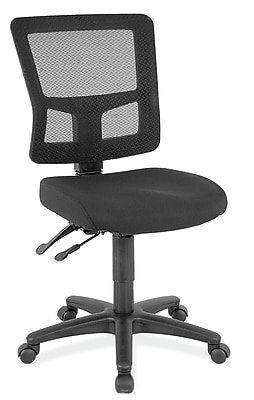 OfficeSource Heitz Series Fabric Managers Office Chair, Armless, Black (8602BLK)