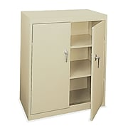 """OfficeSource Budget 42"""" Metal Counter Height Storage Cabinet with 2 Shelves, Putty (8903PTY)"""