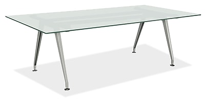 OfficeSource 96'' Rectangular Conference Table, Frosted Glass (GT9645REFROSTED)