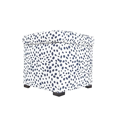 MJLFurniture Togo Upholstered Storage Ottoman; Navy Blue