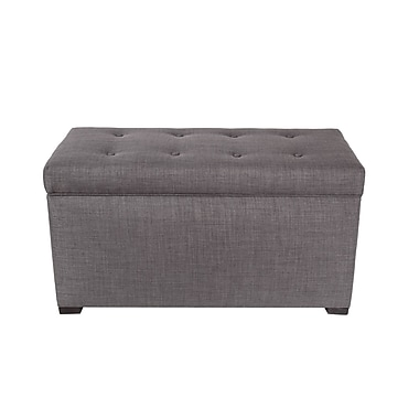 MJLFurniture Fabric Storage Bench; Gray / Red Tint
