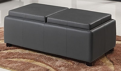 WorldWide HomeFurnishings Double Tray Storage Ottoman; Grey