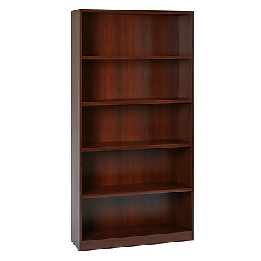 Office Star 5-Shelf Laminate Bookcase, Mahogany