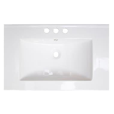 American Imaginations 37'' Single Bathroom Vanity Top; Brushed Nickel