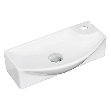 American Imaginations Ceramic Rectangular Vessel Bathroom Sink w/ Overflow