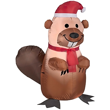 Gemmy Industries Airblown Inflatables Christmas Holiday Beaver w/ Santa Hat and Scarf Inflatable