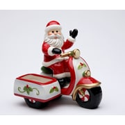 CosmosGifts Santa Riding a Scooter Salt and Pepper Set w/ Sugar Pack Holder
