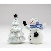 CosmosGifts Snowman w/ Xmas Tree Salt and Pepper Set