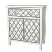 Gallerie Decor Trellis Cabinet 1 Drawer and 2 Door Accent Cabinet; Cream