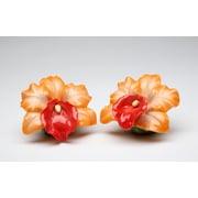 CosmosGifts Orange Orchid Salt and Pepper Set
