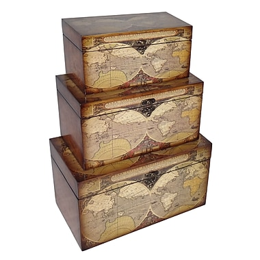Cheungs 3 Piece Small Trunk w/ Expeditionary Map Design Set