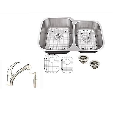 Soleil 32'' x 20.75'' Double Bowl Undermount Kitchen Sink w/ Faucet