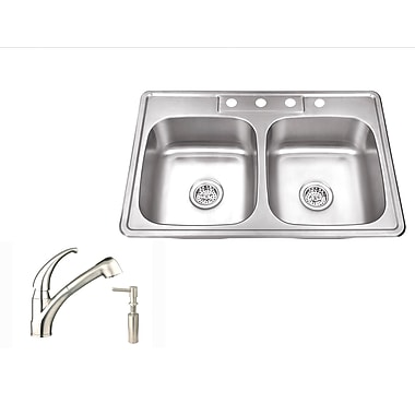 Soleil 33'' x 22'' Stainless Steel Drop In Double Bowl Kitchen Sink w/ Faucet