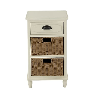 Woodland Imports 1 Drawer Chest with 2 Basket; White