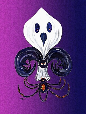 Caroline's Treasures Halloween Ghost Fleur de lis House Vertical Flag