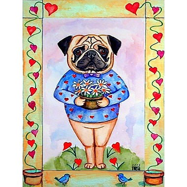 Caroline's Treasures Pug Valentine's Hearts House Vertical Flag