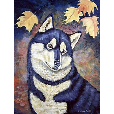 Caroline's Treasures Fall Leaves Siberian Husky House Vertical Flag