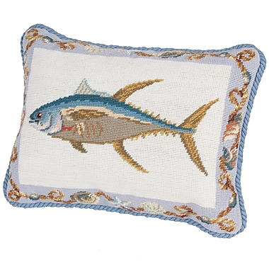 Rennie & Rose Design Group Fish Needlepoint Boudoir/Breakfast Pillow