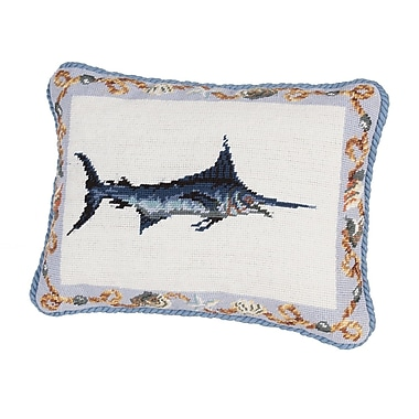 Rennie & Rose Design Group Swordfish Needlepoint Boudoir/Breakfast Pillow