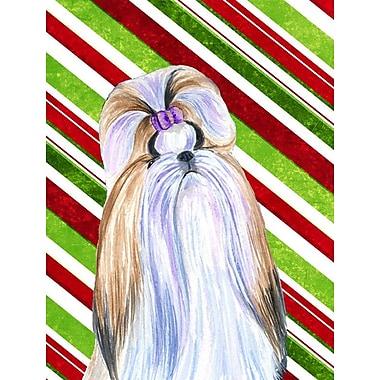 Caroline's Treasures Shih Tzu Candy Cane Holiday Christmas 2-Sided Garden Flag