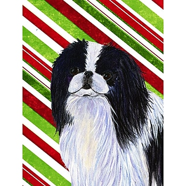Caroline's Treasures Japanese Chin Candy Cane Holiday Christmas 2-Sided Garden Flag