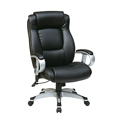 Office Star WorkSmart Leather Executive Office Chair, Adjustable Arms, Black (ECH52666-EC3)