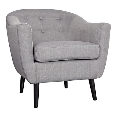 WorldWide HomeFurnishings Mid Century Fabric Accent Barrel Chair; Grey