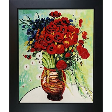 Tori Home Vase w/ Daisies and Poppies by Vincent Van Gogh Framed Painting