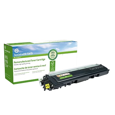 Sustainable Earth by Staples - Cartouche de toner jaune, remise à neuf, Brother TN210Y (SEBTN210YR)