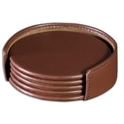 Dacasso 1000 Series Classic Leather Four Round Coasters w/ Holder in Chocolate Brown