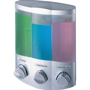 Better Living Products Euro Trio Dispenser w/ Translucent Container; Satin Silver