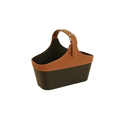 WaldImports Faux Leather Basket in Black and Caramel; Black and Tan