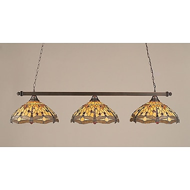 Toltec Lighting 3-Light Pool Table Light; Black Copper