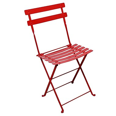 Furniture Designhouse French Bistro European Cafe Folding Patio Dining Chair (Set of 2); Flame Red