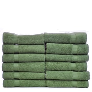 Bare Cotton Luxury Hotel and Spa Towel 100pct Genuine Turkish Cotton Wash Cloth (Set of 12); Moss
