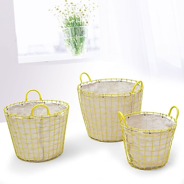 AdecoTrading 3 Piece Oval Urban Style Laundry Set; Yellow