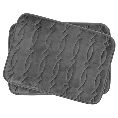 Bath Studio Grecian Small 2 Piece Plush Memory Foam Bath Mat Set (Set of 2); Dark Grey