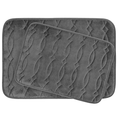 Bath Studio Grecian Large 2 Piece Plush Memory Foam Bath Mat Set; Dark Grey