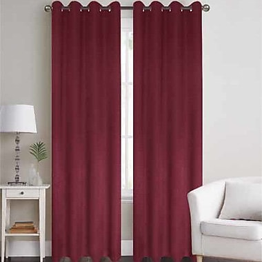 J&V Textiles Thermal Solid Blackout Grommet Thermal Curtain Panels (Set of 2); Burgundy