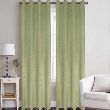 J&V Textiles Thermal Solid Blackout Grommet Thermal Curtain Panels (Set of 2); Sage