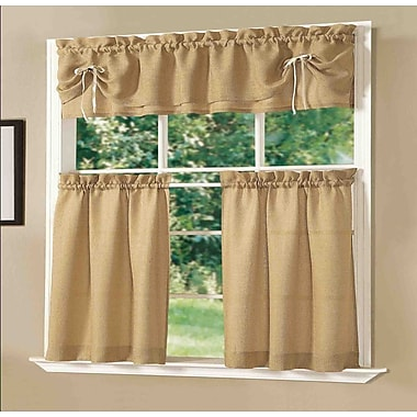 Dainty Home Lucia Kitchen Valance and Tier Set; Light Gold