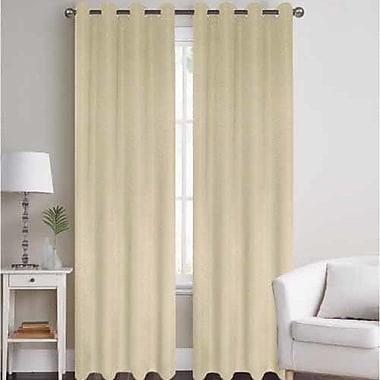J&V Textiles Thermal Solid Blackout Grommet Thermal Curtain Panels (Set of 2); Beige